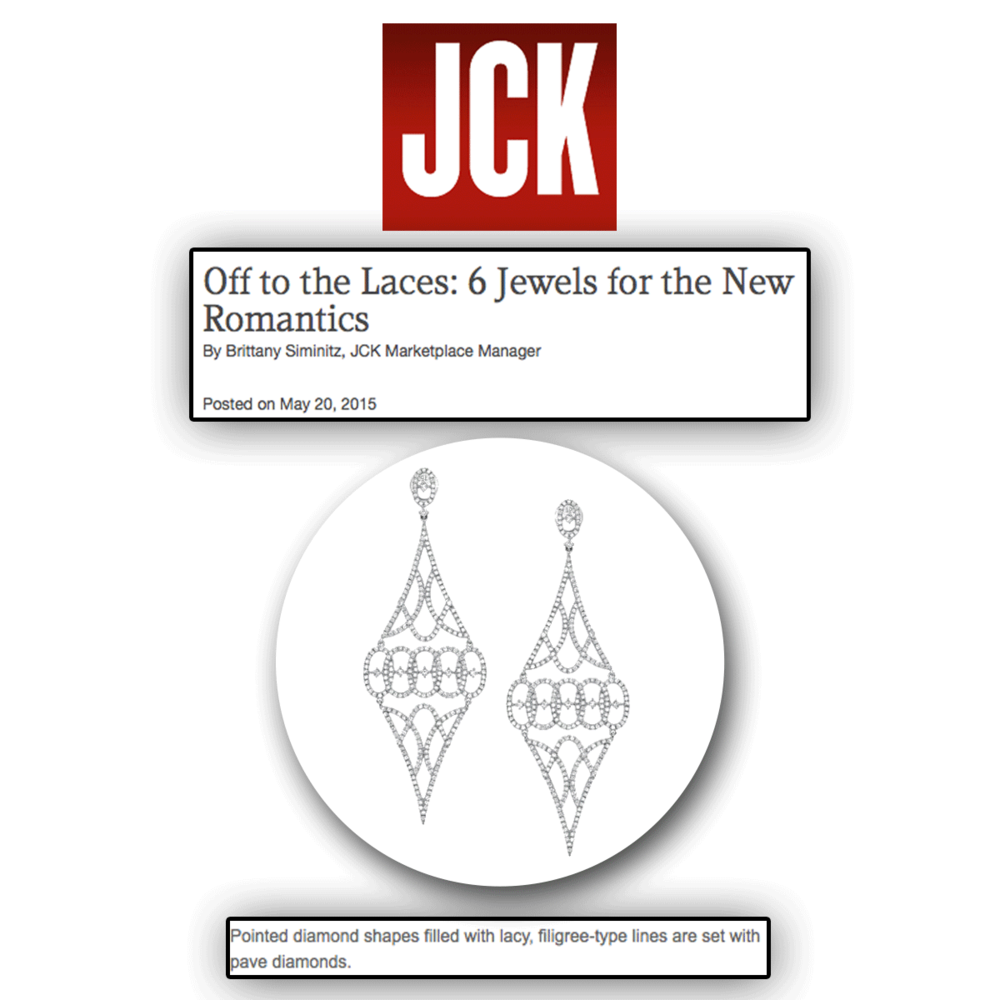 Lace us up in diamonds! Thank you JCK Marketplace for featuring these dazzling white gold and diamond filigree type drop Sylvie Collection earrings!