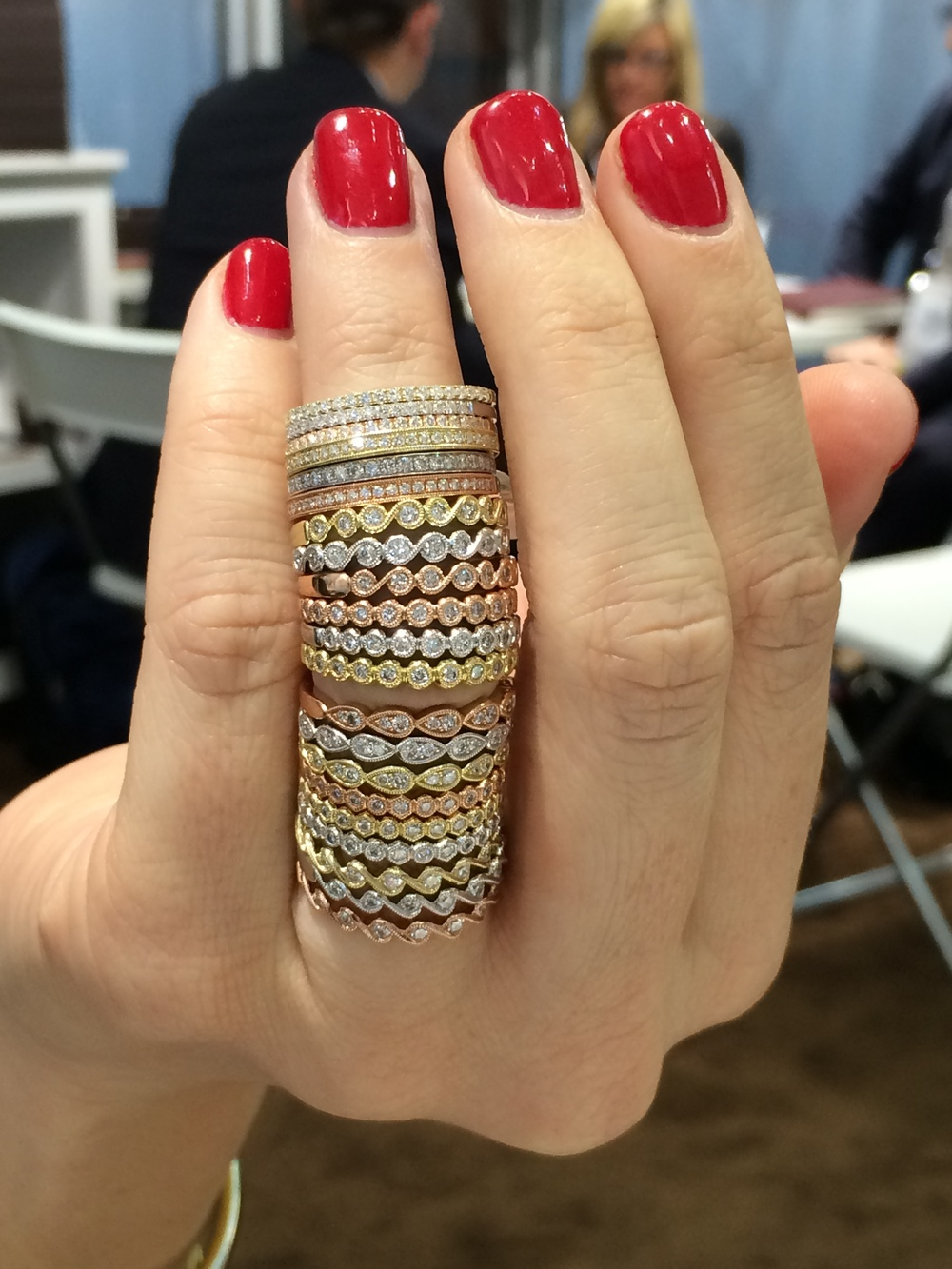 Now...time to play dress up with an assortment of different types of fine jewelry pieces! From rose, to yellow and finally white gold...it's hard to pick which one we love more! These assortment of stackable rings are brought to you by Sylvie Collection!