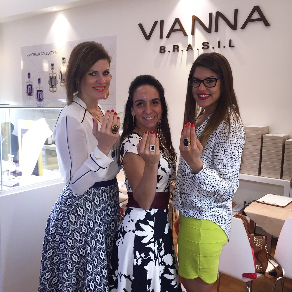 After several back-to-back editor meetings, LBG's Arlene Guerrero and Jen Cullen Williams, stop to snap a photo with Marketing and Creative Director Karla Antunes of VIANNA BRASIL.