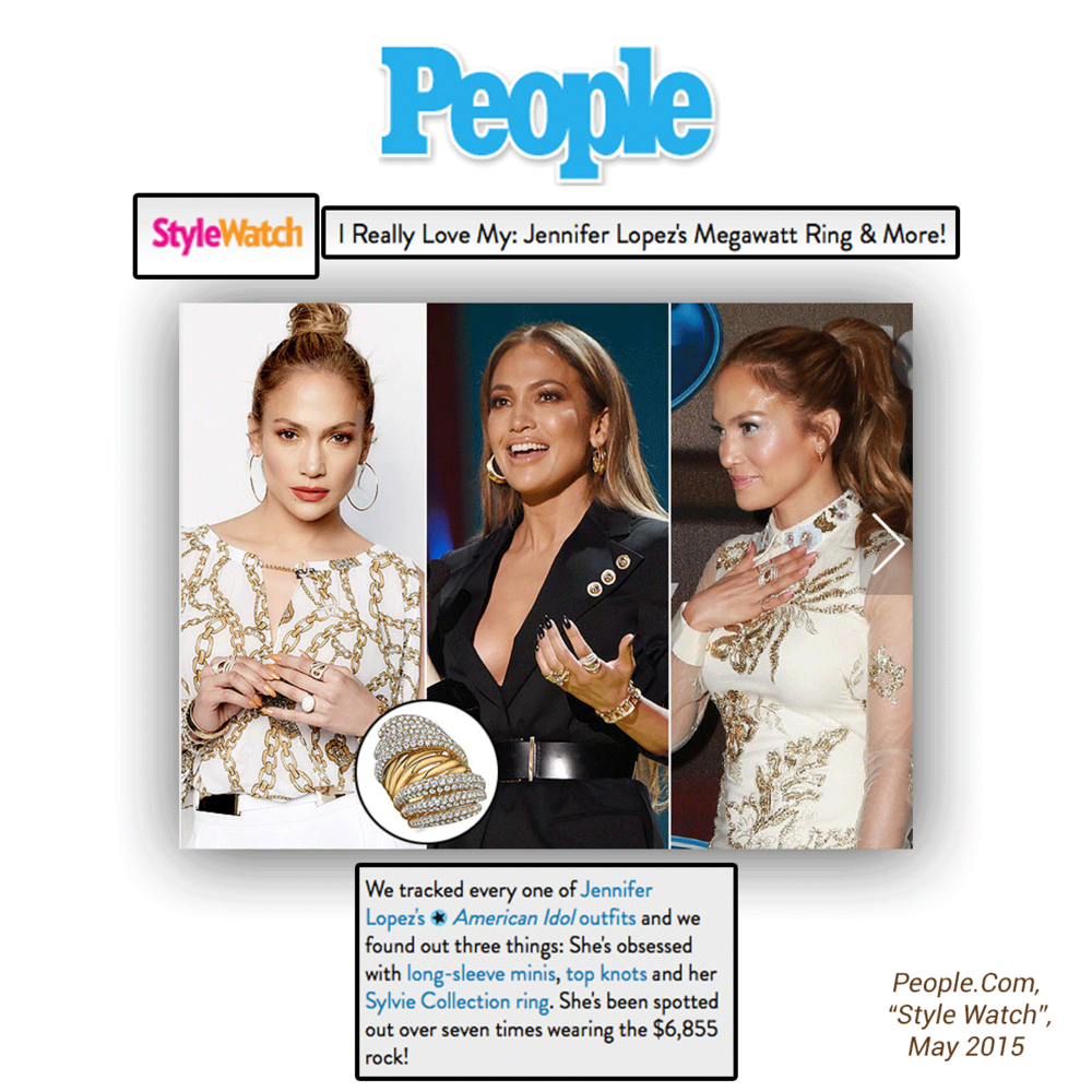 "Even People.com agrees that It's safe to say that J-Lo has been successful in coining this intricately crafted Sylvie Collection yellow gold and diamond fashion ring the ""J-Lo ring."""