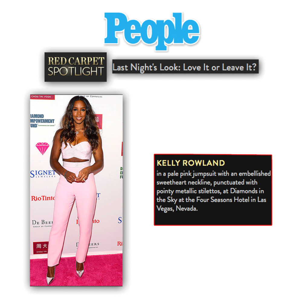Thank you People.com for featuring Kelly Rowland in her baby pink jumpsuit, ready to perform at the 2015 Diamonds in the Sky Las Vegas event. The LBG team had the honor of helping put the event together, alongside the Diamond Empowerment Fund.