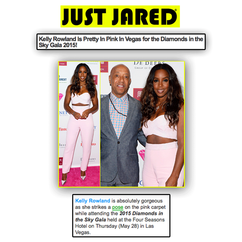 Thank you Just Jared for featuring Kelly Rowland, alongside Russell Simmons, prior to her beautiful performance, in support of such a wonderful cause!