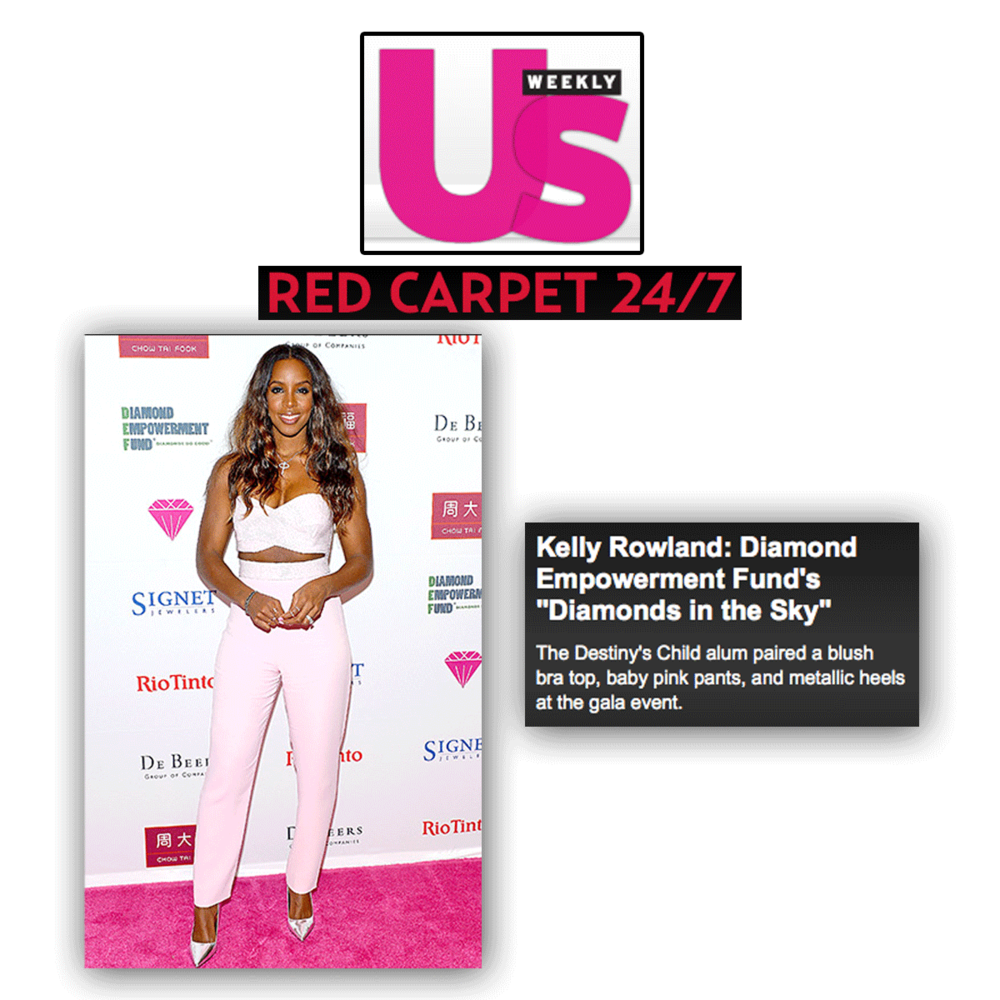 Pink carpet style watch! Here's to Kelly Rowland all smiles at the gala event, promoting Diamond Empowerment Fund and their powerful, key message.