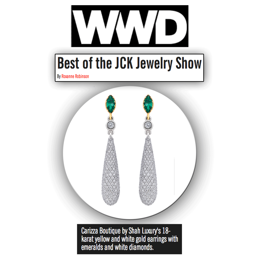 How stunning are these sparkling Carizza Boutique drop earrings, featuring an emerald stone! Thank you WWD for featuring.