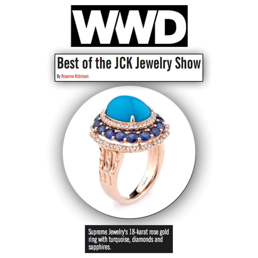 Bodacious in blue hues! Thank you WWD for featuring this rose gold and turquoise stunner, brought to you by Supreme Jewelry at JCK Las Vegas!