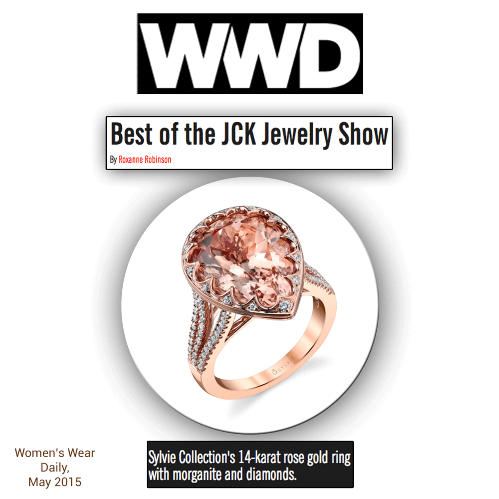 Oh so marvelous in morganite! WWD loves this Sylvie Collection 14K rose gold and diamond engagement ring, featuring a prominent morganite center stone, and so do we!