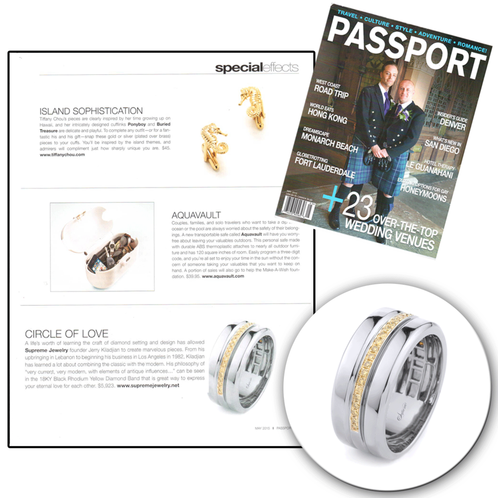 Thank you Passport Magazine for featuring this simple, yet bold white gold and diamond Supreme Jewelry wedding band for men.