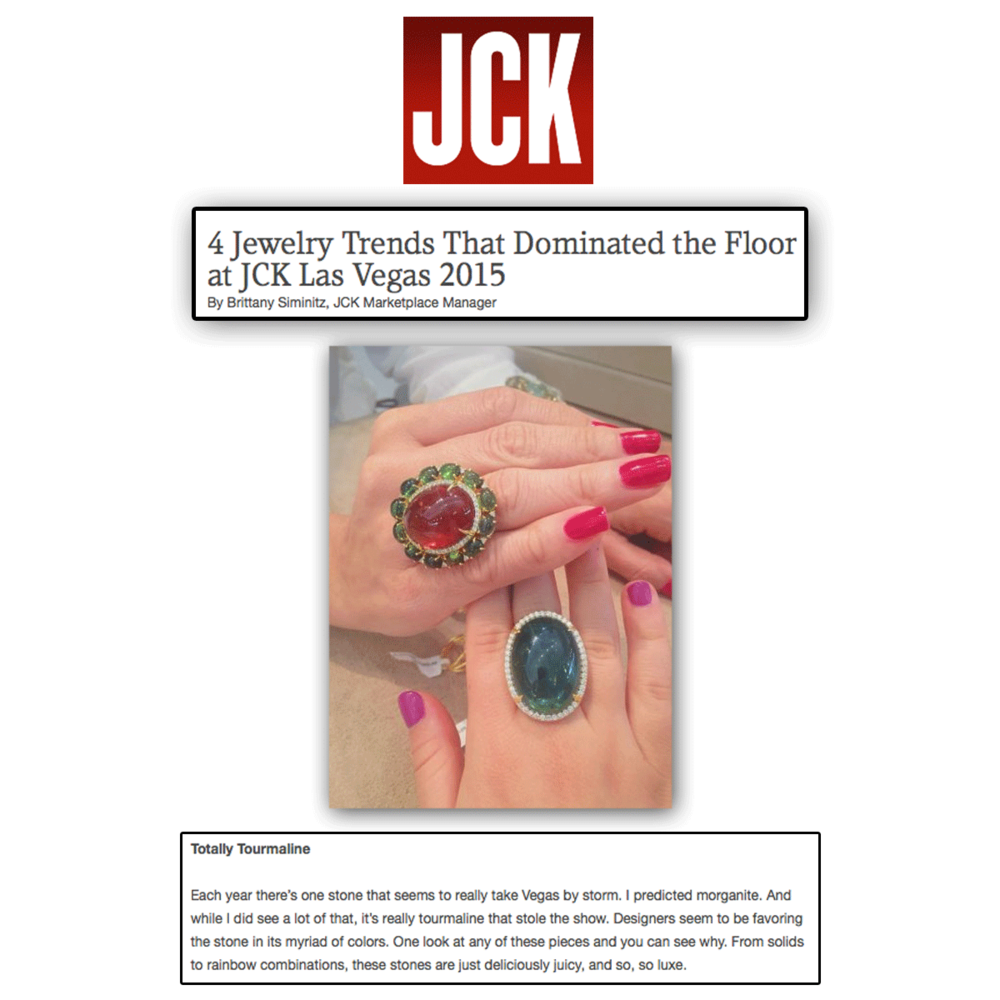 Without a doubt, tourmaline took a crown at JCK Las Vegas! Thank you JCK Marketplace for featuring these VIANNA BRASIL statement rings!