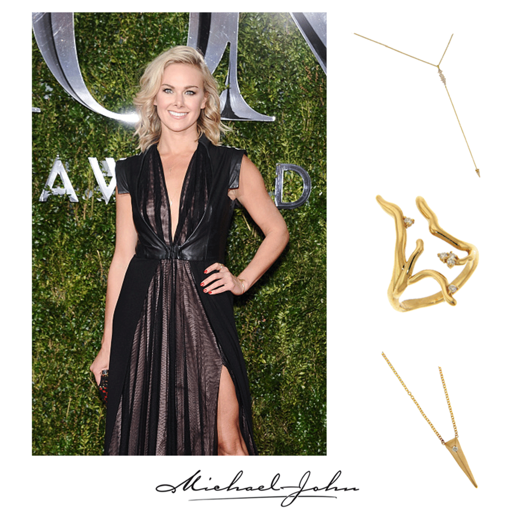 We're drooling over the beautiful, blonde Laura Bell Bundy dripping in our delicate yellow gold + diamond  Michael John Jewelry necklaces and matching ring at the 2015 Tony Awards!