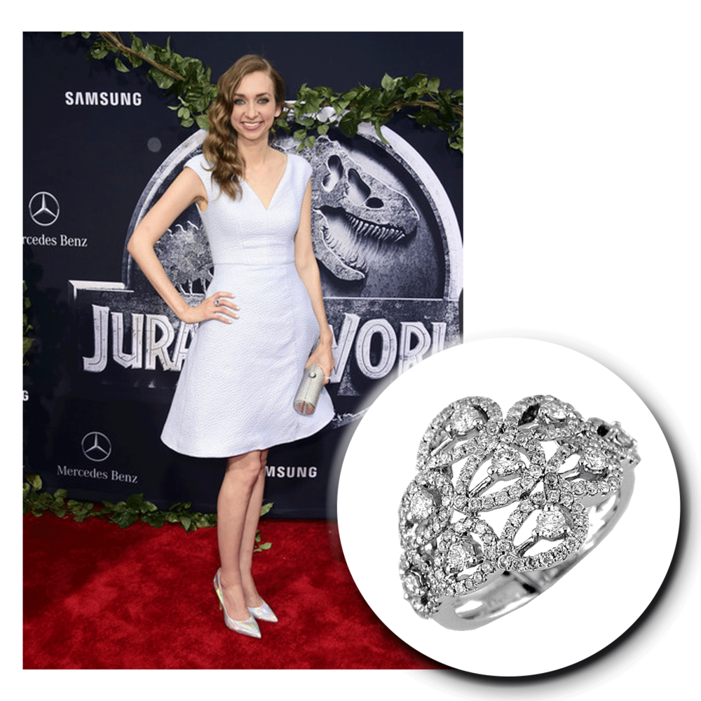 Cheers to Lauren Lapkus' simply elegant look! You can't get any better than a plain white cocktail dress with this sparkling Royal Jewelry openly-spaced white gold and diamond ring!