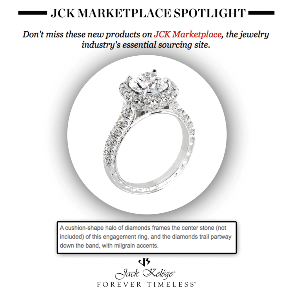 #SPOTTED! You can never go wrong with the classic halo! Thank you JCK Marketplace for featuring this elegant Jack Kelege engagement ring.