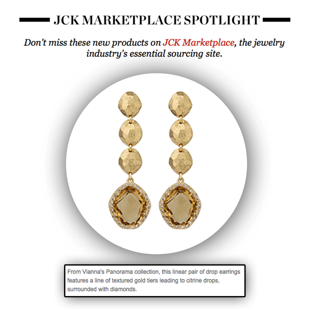 Thank you JCK Marketplace for featuring these unique and oh so beautiful VIANNA BRASIL citrine drop earrings...oh so perfect for the summer season!