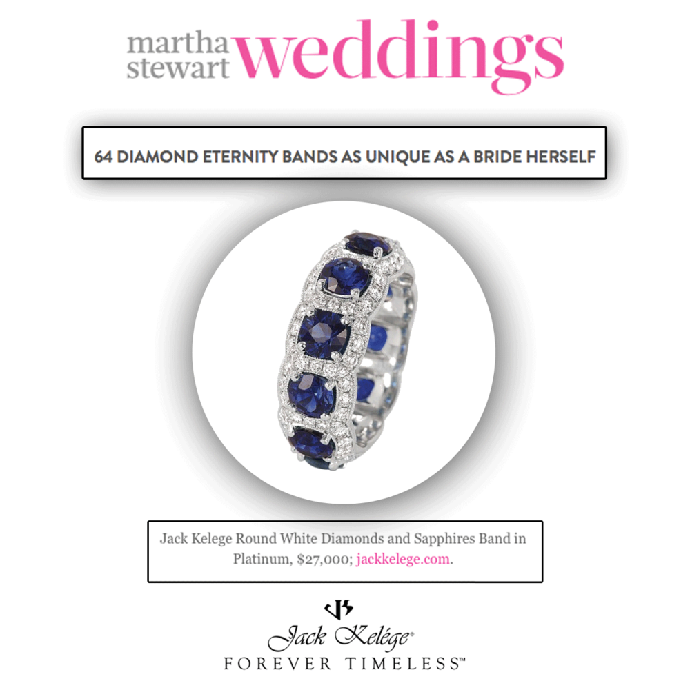Every bride has a choice all her own! Thank you Martha Stewart Weddings for featuring this lovely white diamond and blue sapphire Jack Kelege band,