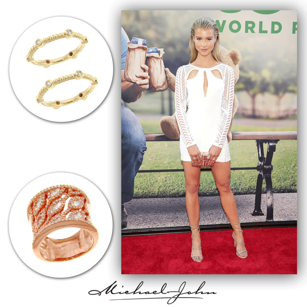 "The petite and pretty, Lexi Atkins, sparkles on the red carpet of the ""Ted 2"" premiere in these Michael John Jewelry stackable gold bands, and an openly spaced rose gold and diamond ring."