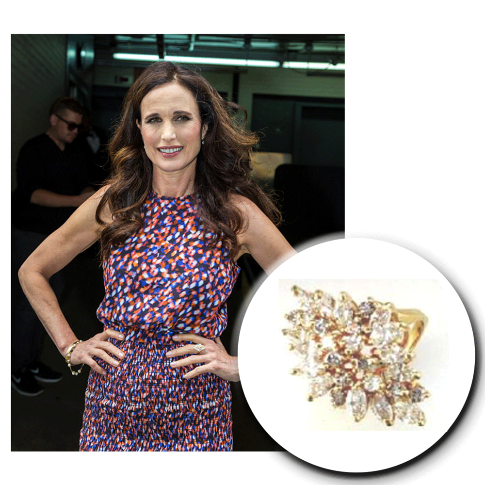 Always so dolled up...even for her interviews! We love Andie MacDowell, in this sparkling Royal Jewelryyellow gold and diamond cluster ring.