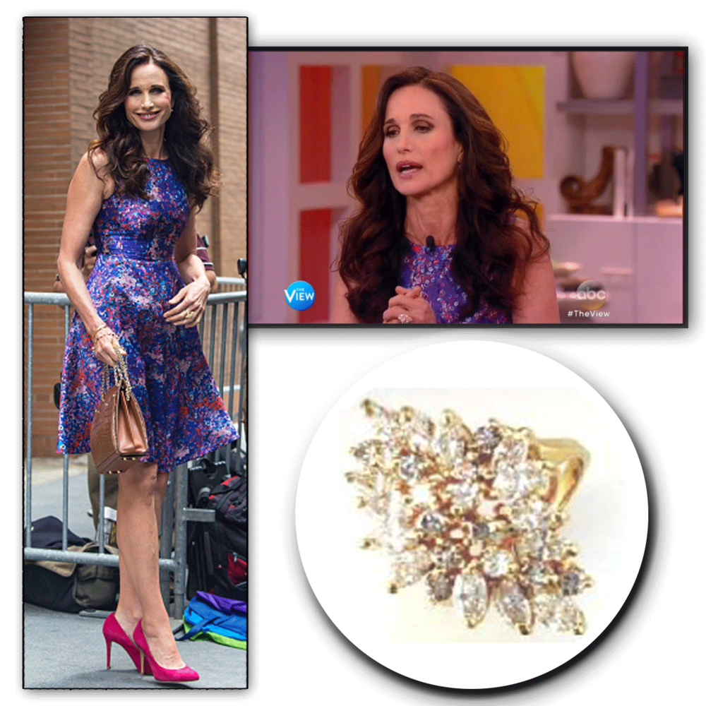 Pretty in purple! Can we just take a minute to admire howbeautiful Andie MacDowell looks...and to top things off,this yellow gold and diamond Royal Jewelry statement ring really adds some flair to her fingers!