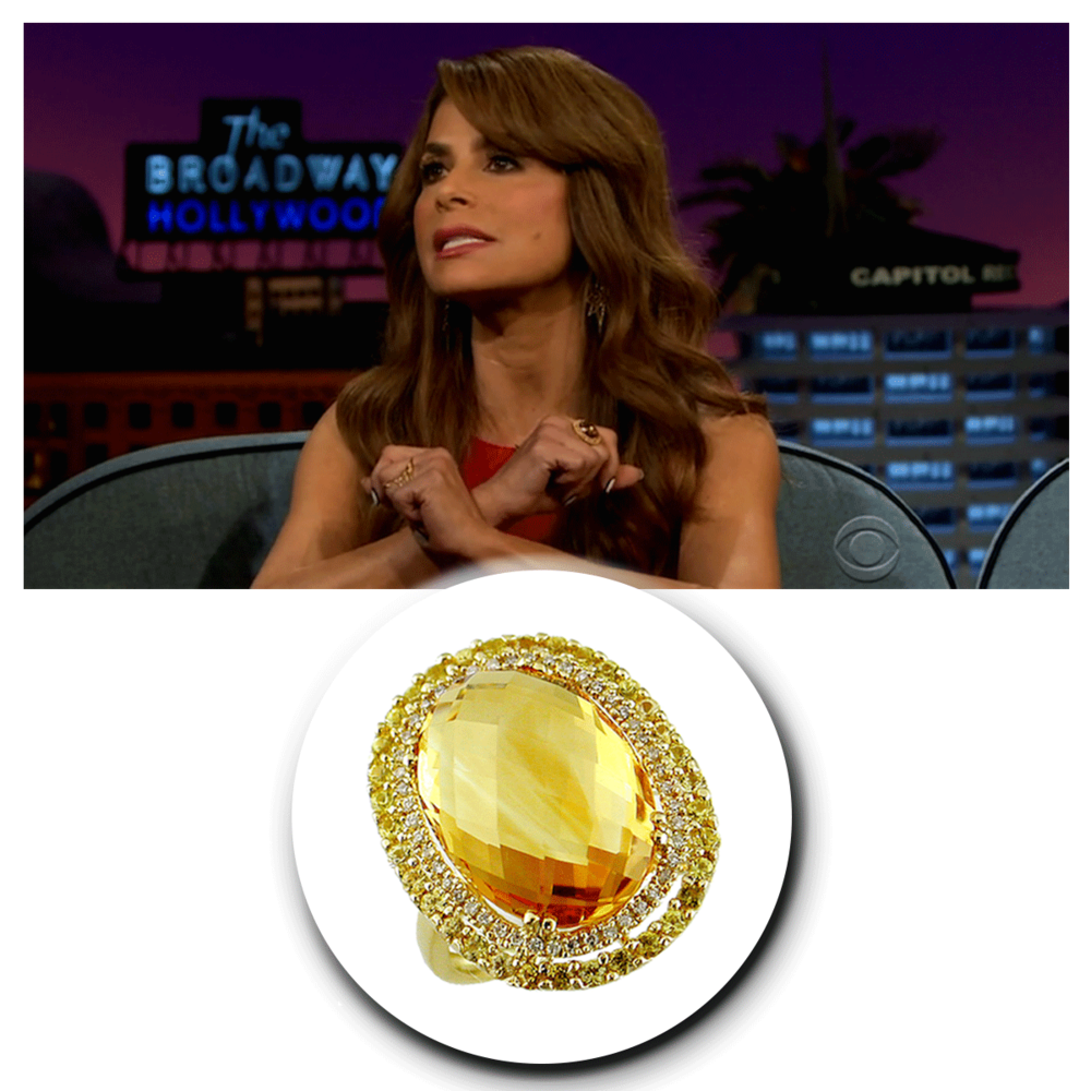 "The absolutely radiant Paula Abdul sparkled in this beautiful, bright yellow Royal Jewelry statement ring on set of ""The Late Late Show with James Cordon."""