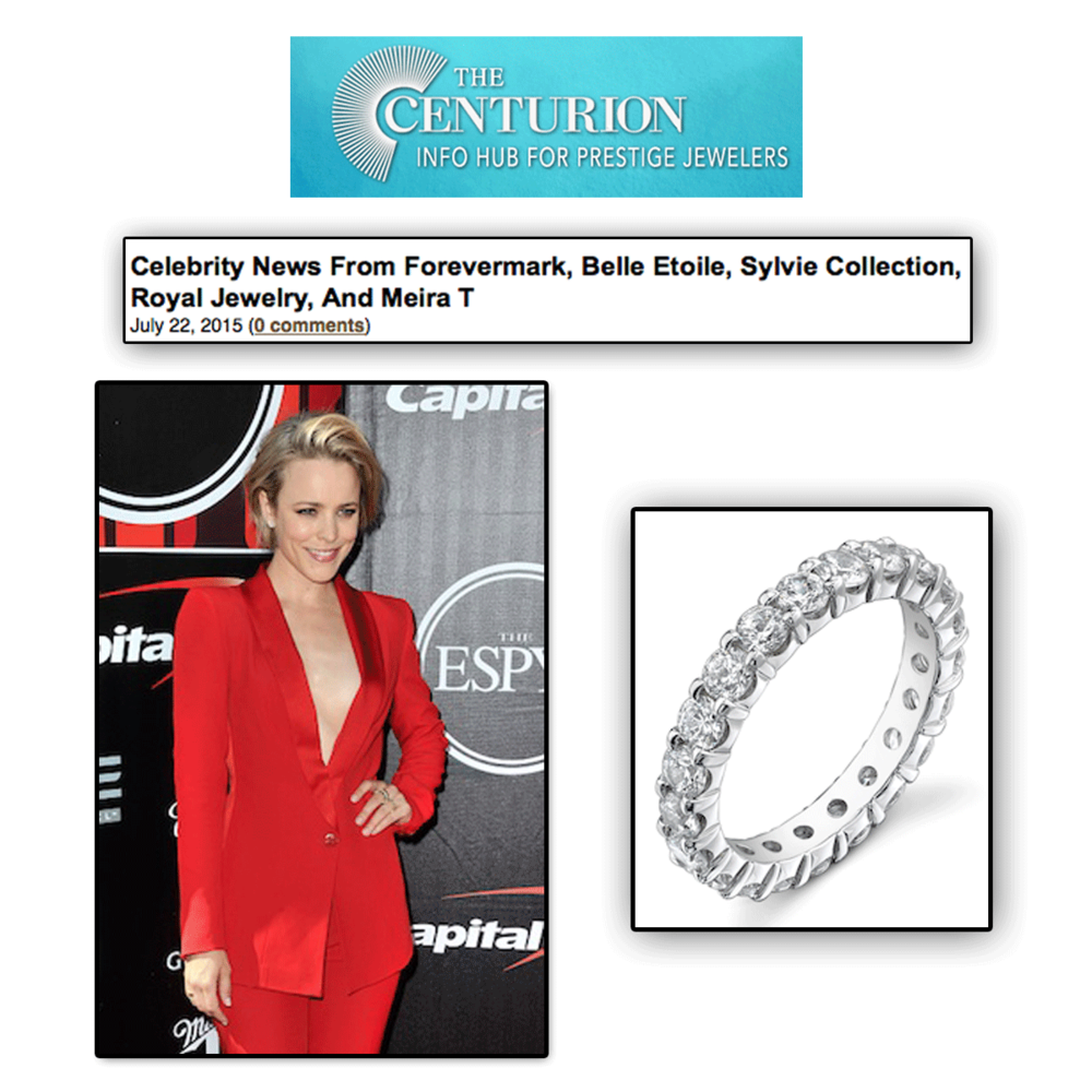 Thank you The Centurion Newsletter for featuring the lovely Rachel McAdams wearing a lovely Sylvie Collection stackable band!