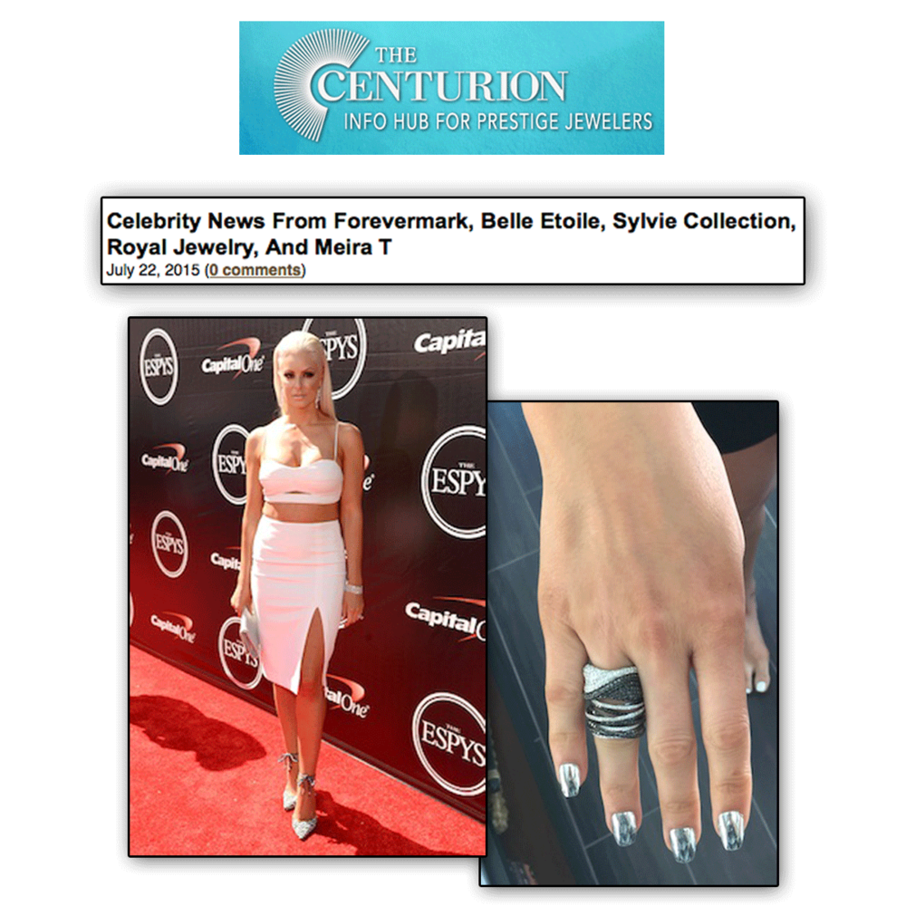 Thank you The Centurion Newsletter for featuring model and WWE star, Maryse Ouelett rocking some white and black diamond Royal Jewelry statement pieces!