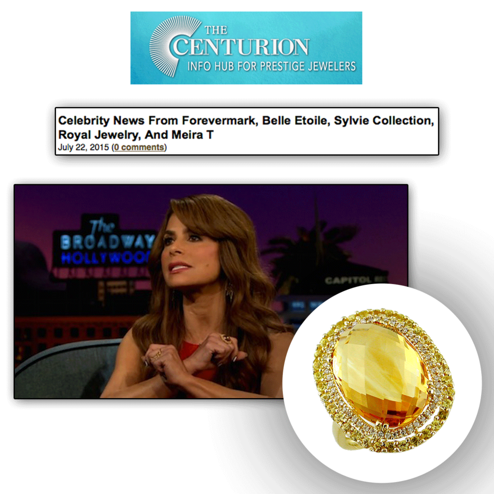 Thank you The Centurion Newsletter for featuring Paula Abdul sparkling in a Royal Jewelry cocktail ring that appears as bright as the sun!