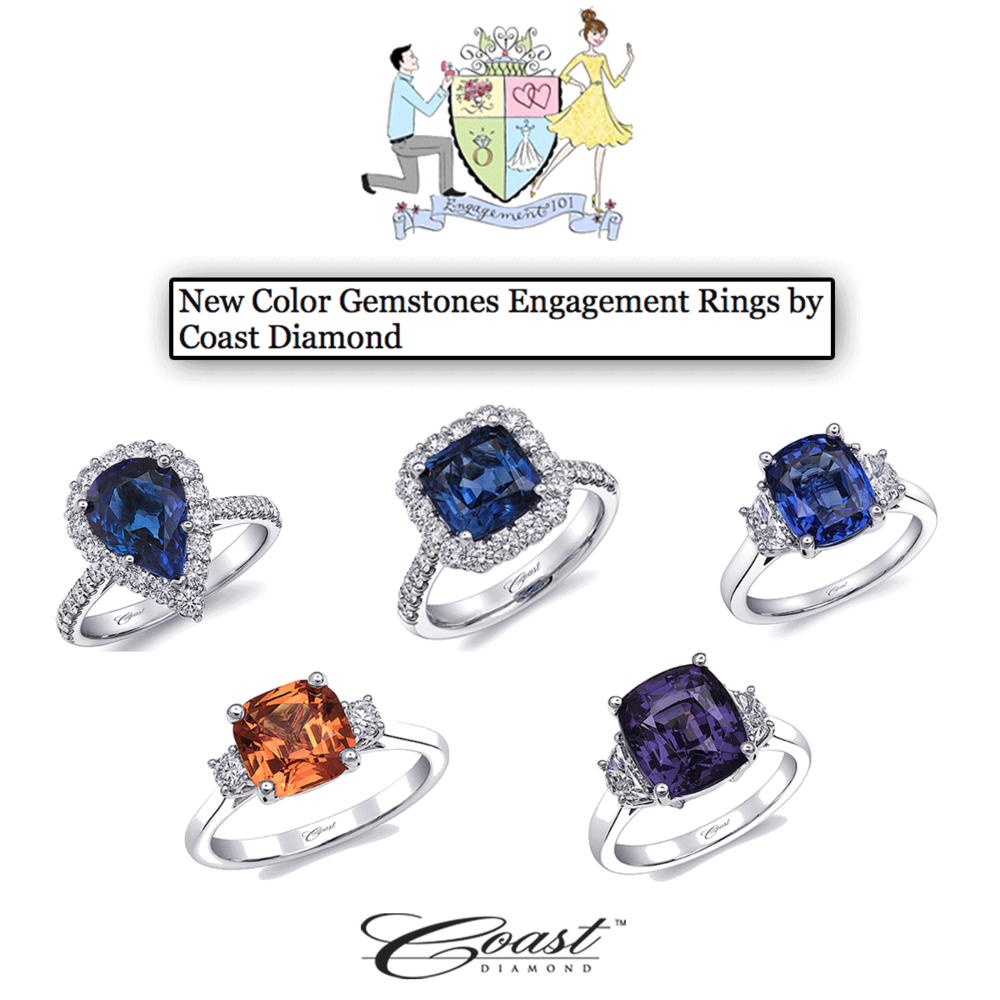 Let's play with color! Thank you Engagement 101 for featuring an assortment of Coast Diamond's beautiful new bridal rings from their Signature Color Collection!
