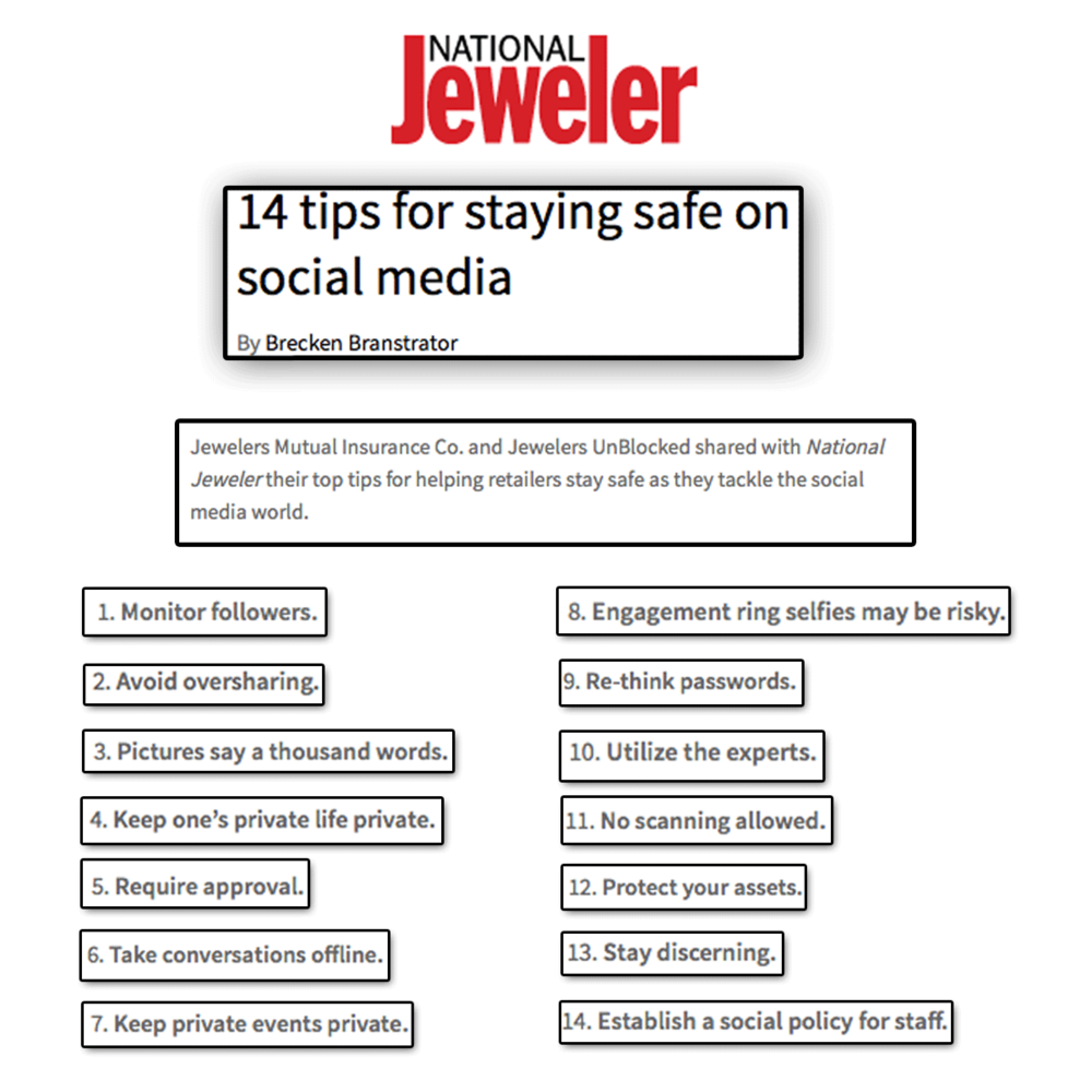 Some sweet social media tips! Thank you National Jeweler for featuring these helpful tips from Jewelers unBLOCKed.