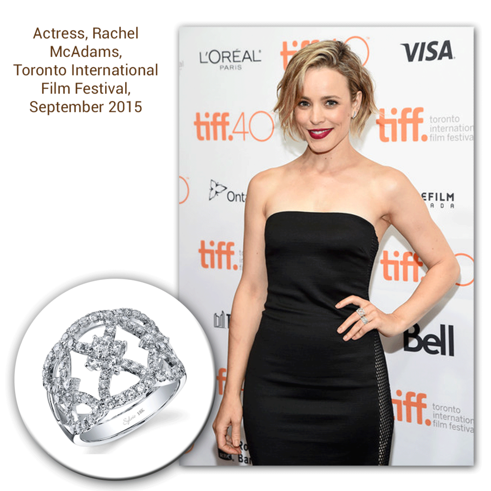 Oh why hello there, Rachel McAdams! Doesn't she look absolutely beautiful in this intricately designed white gold and diamond Sylvie Collection ring?