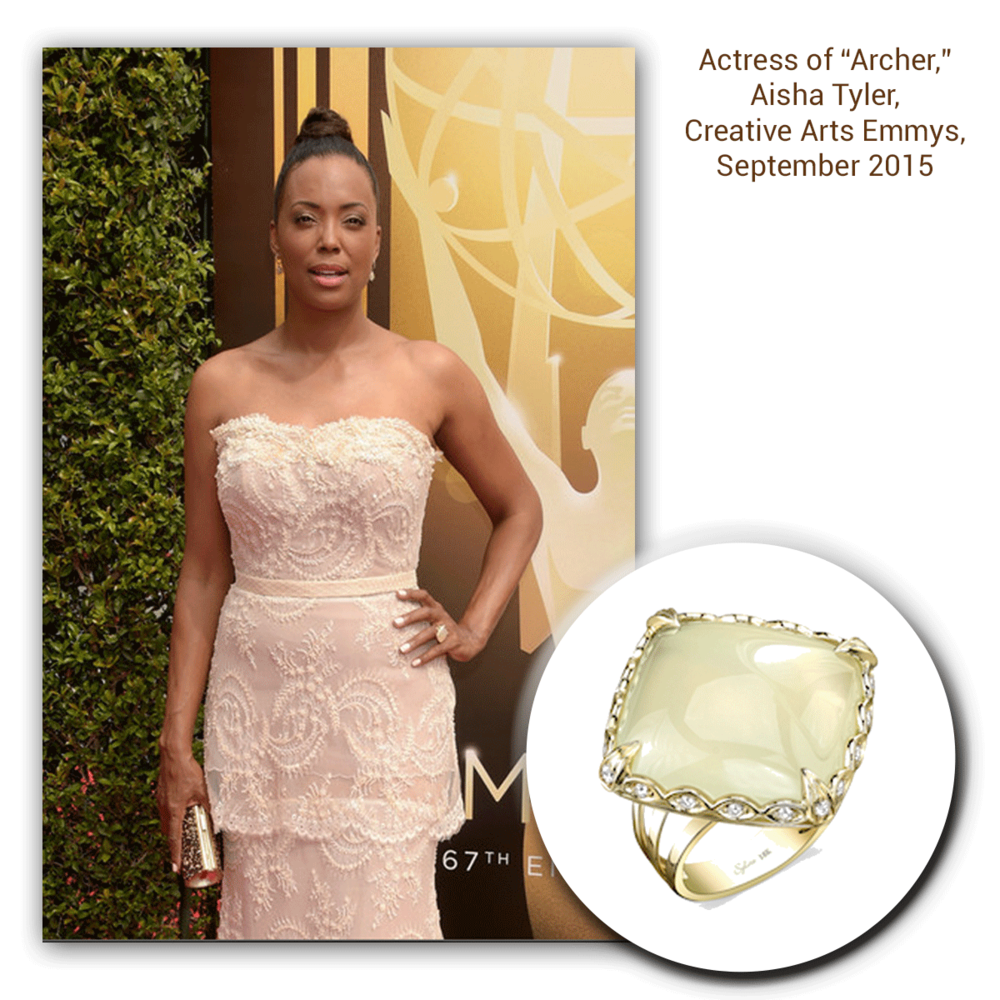 Aisha Tyler graces the Creative Arts Emmys in this beautiful Sylvie Collection statement ring and matching Royal Jewelry diamond earrings (below).