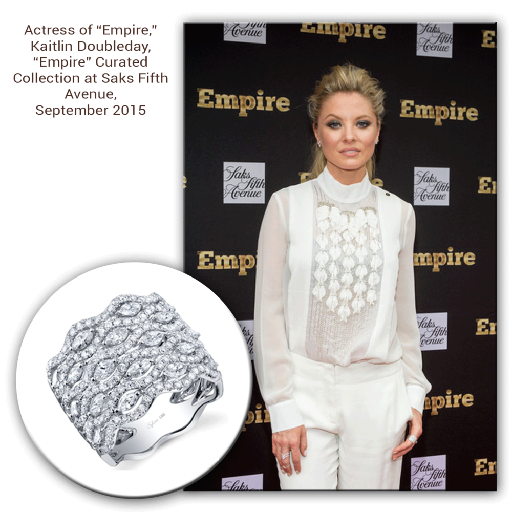 Always a beautiful sight to see, Kaitlin Doubleday gives the Empire Season 2 Premiere a run for its money, sparkling in both Sylvie Collection & Supreme Jewelry (below).