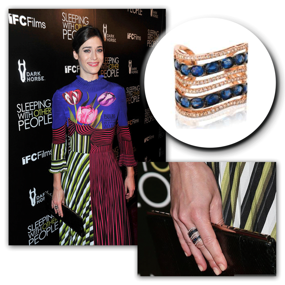 We're loving Lizzy Caplan's ensemble with just the perfect amount of Marco Moore sparkle!