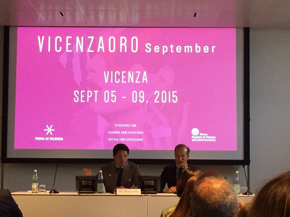 Mr. Marzotto and Mr. Facco, both head honchos of Fiera di Vicenza, welcoming all buyers to the VICENZAORO September 2015 show!