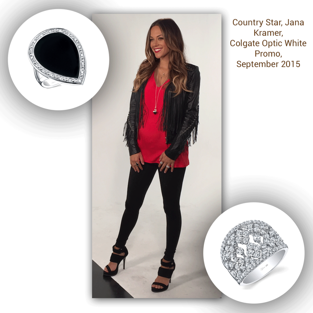 Oh my, oh my! Country star, Jana Kramer is caught on set of a Colgate commercial, sparkling in two Sylvie Collection white gold + diamond rings!