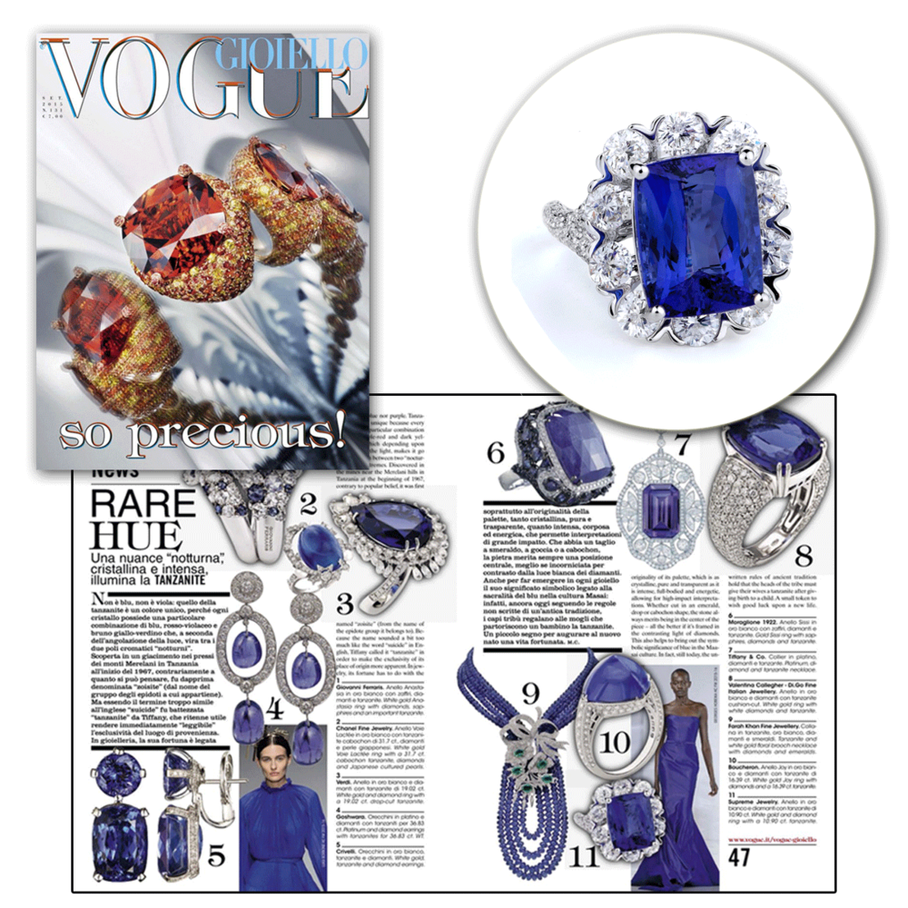 Beautiful in blue? Don't mind if we do! Thank you Vogue Gioiello for featuring this striking blue tanzanite and diamond ring by Supreme Jewelry!