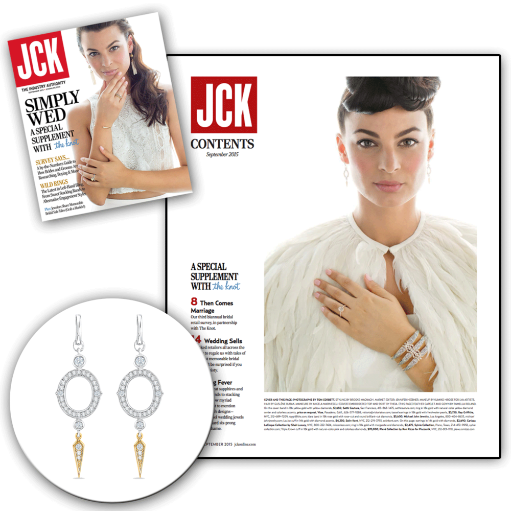 Thank you JCK Magazine for featuring these delicate, dagger-like two-tone CARIZZA drops!