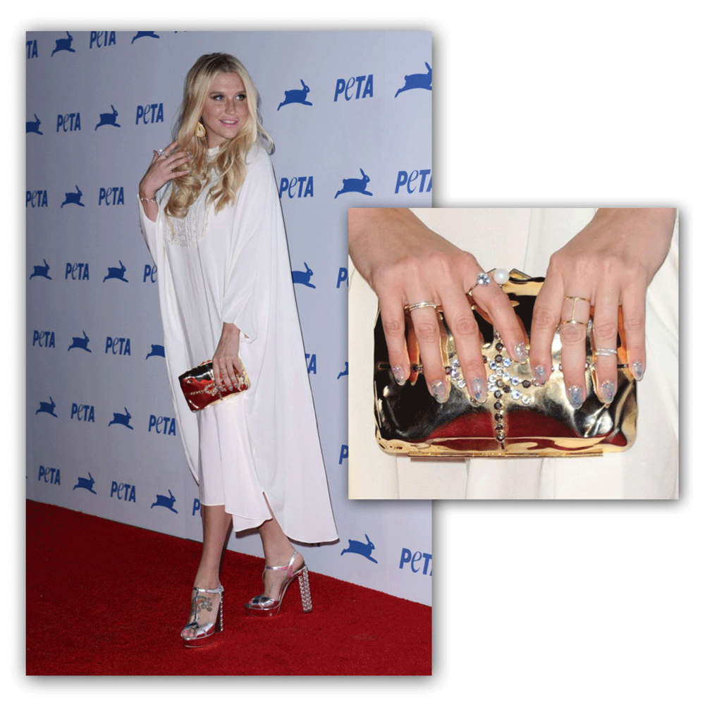 Kesha takes the red carpet in a trendy Daniel Espinosaring at PETA's 35th Anniversary Party!