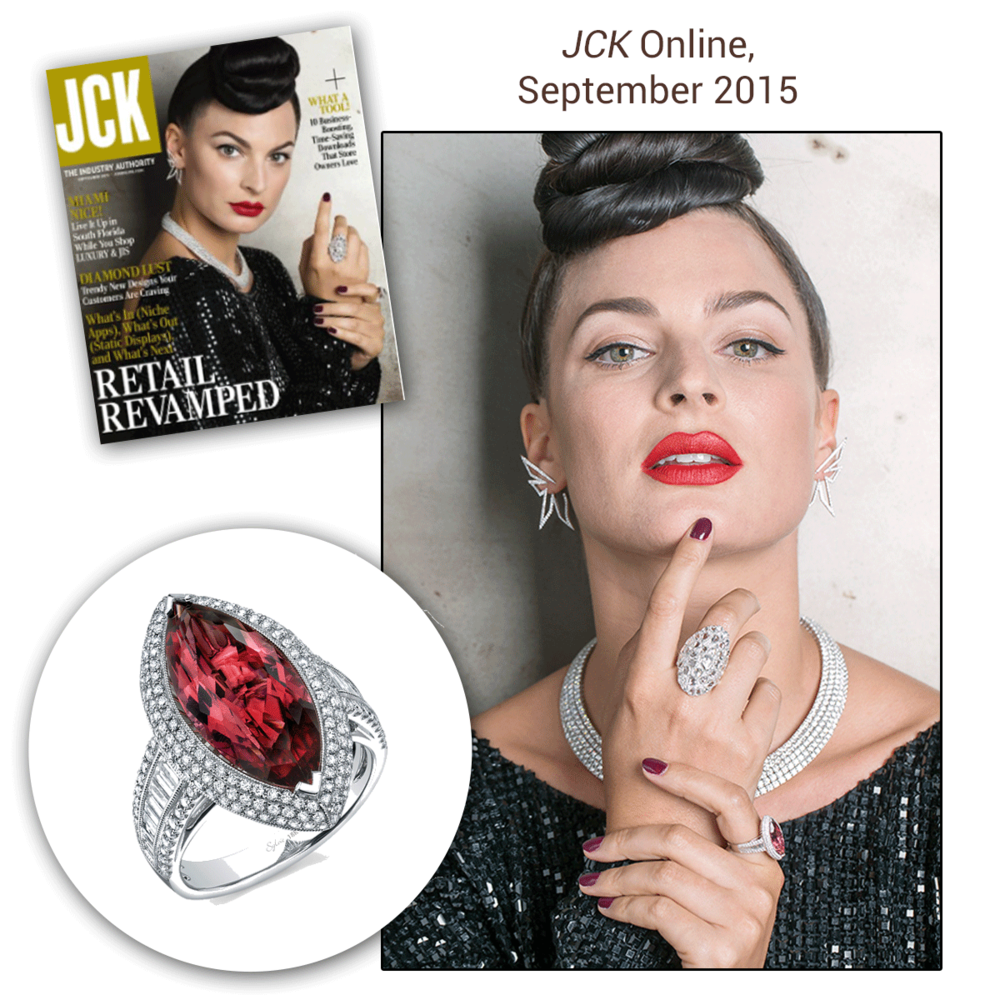 Tourmaline's are truly taking over the world, at least this pink Sylvie Collection one is! Thank you JCK Online for featuring this white gold and diamond stunner!