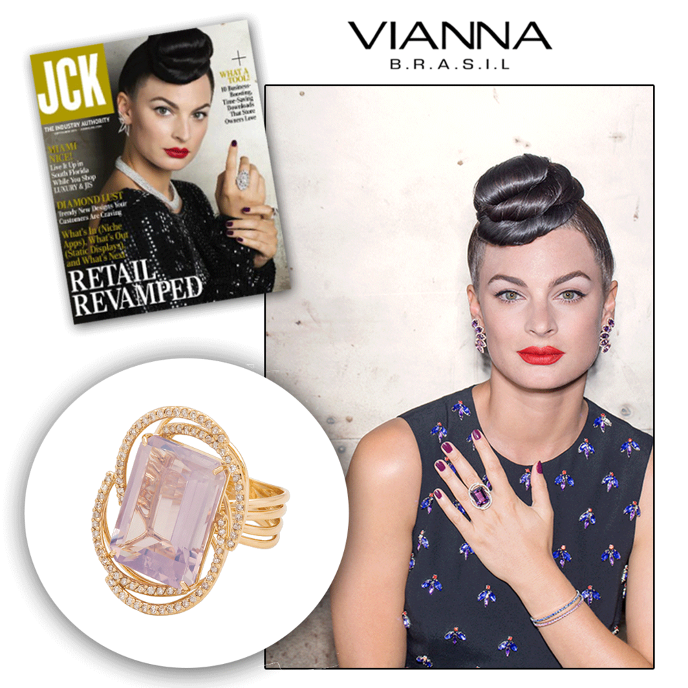 Oh, the big, bold rings are back again! Thank you JCK Online for featuring Nadine wearing this yellow gold and amethyst statement ring by VIANNA Brasil!