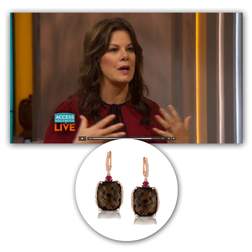 Marcia Gay Harden looks ever so elegant in these one-of-a-kind rose gold and diamond Marco Moore drops!