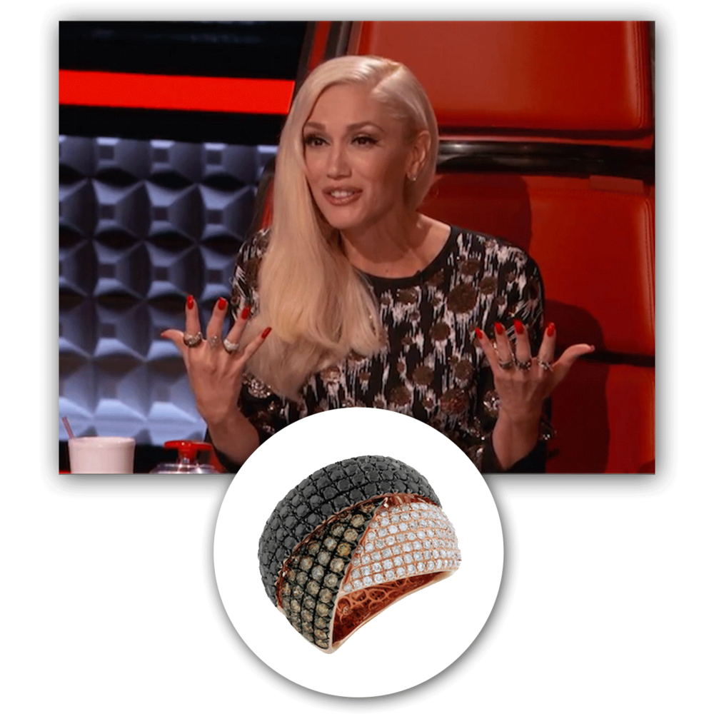 "Always a delightful site to see, Gwen Stefani radiates on set of ""The Voice"" in this black and white diamond Royal Jewelry fashion ring!"