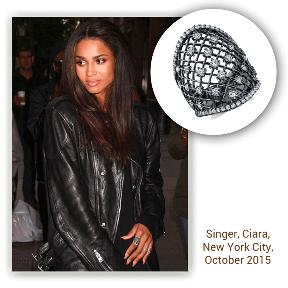 Singer, Ciara sparkles on the streets of New York City in this openly-spaced black rhodium and diamond Sylvie Collection fashion ring!