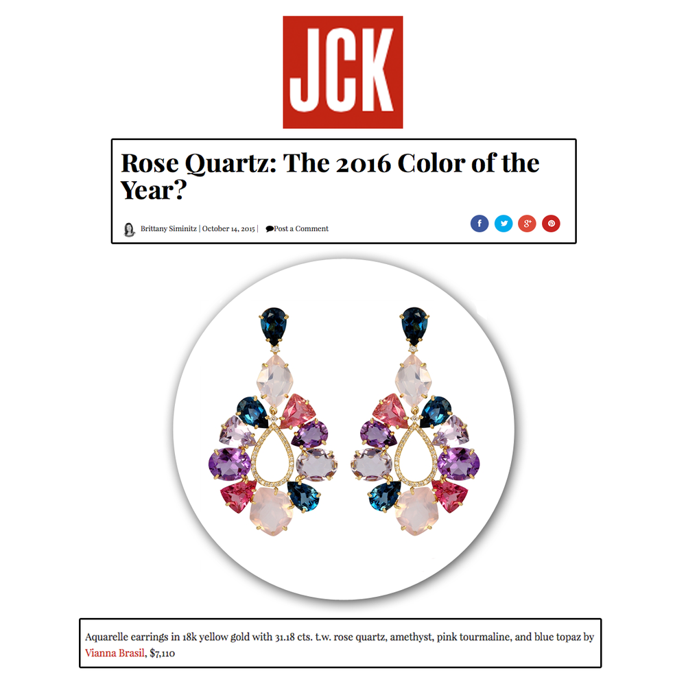 Is rose quartz the color of 2016? Regardless of that fact, these beautiful Aquarelle earrings by VIANNA BRASIL contain an assortment of colorful gems that truly bring these beauties to life!