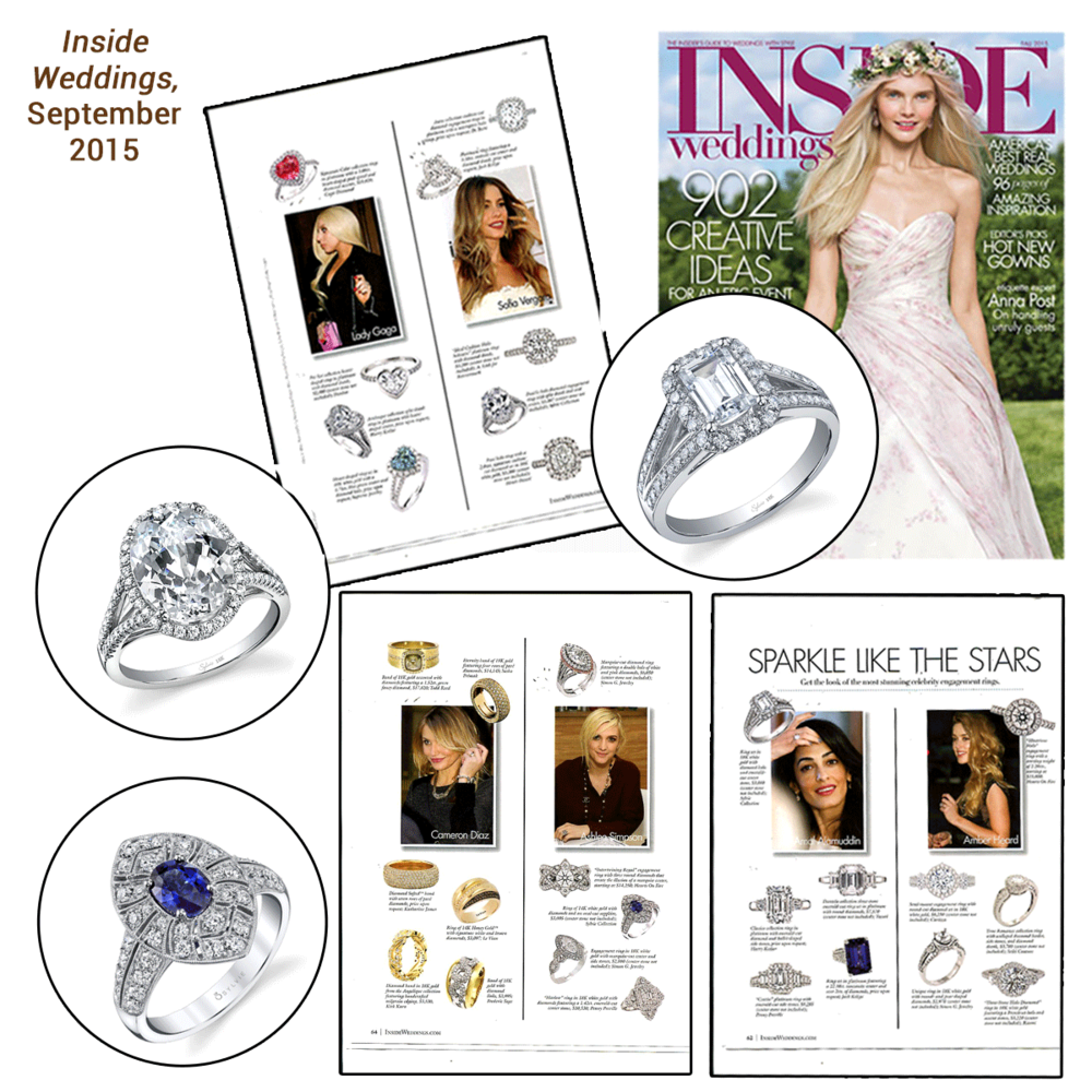 Let's sparkle with Sylvie Collection! Thank you Inside Weddings for featuring an assortment of Sylvie's white gold and diamond classics!