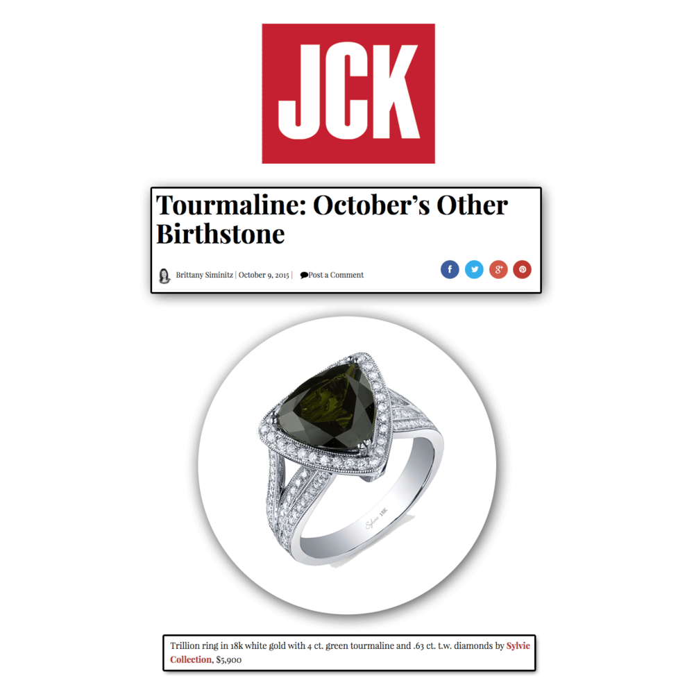 For all of you October babies! Thank you JCK Online for featuring this green tourmaline and diamond Sylvie Collection ring!