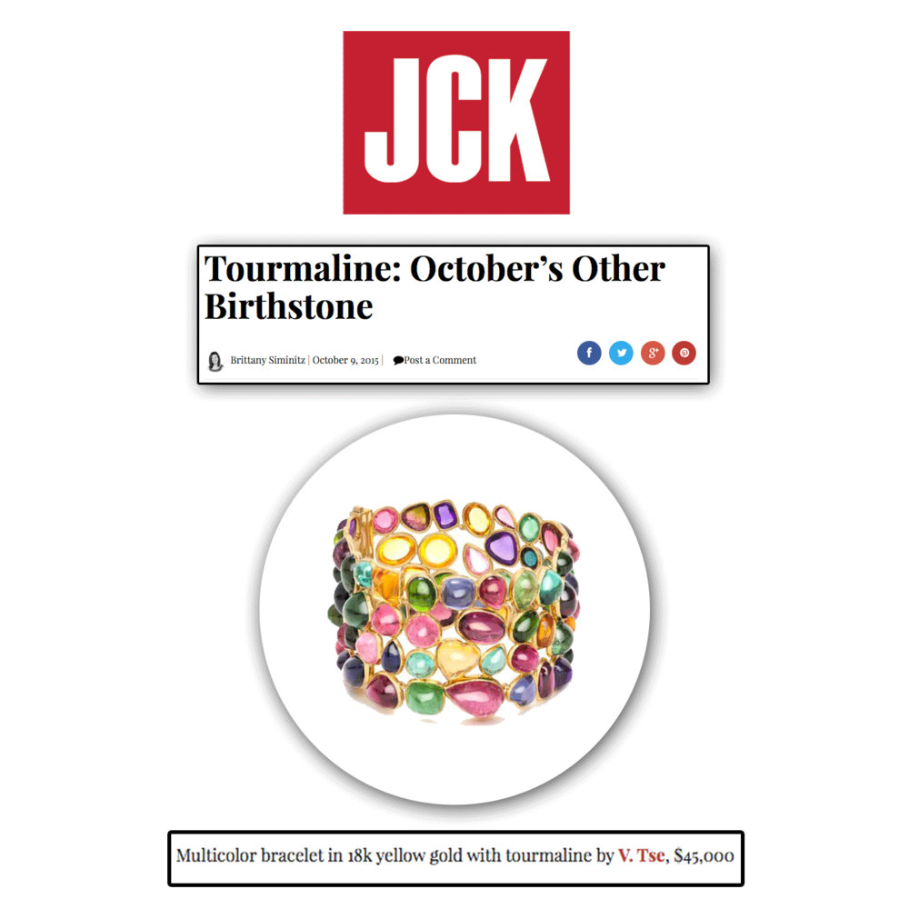 Yet, again, another treat for you October-born babies! Thank you JCK Online for featuring this juicy cabochon cuff by Vtse!