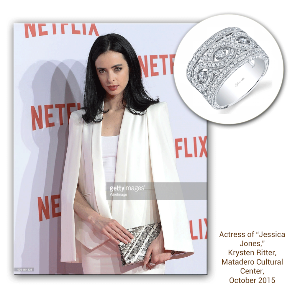 Krysten Ritter takes sheer elegance to a whole new level with this intricately designed white gold and diamond Sylvie Collection ring!