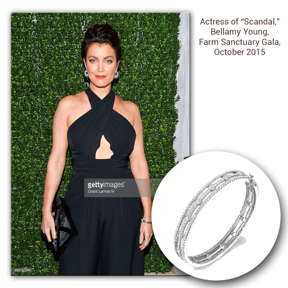 Oh hot damn! Bellamy Young glows at the 2015 Farm Sanctuary Gala in this delicate, yet trendy white gold and diamond Sylvie Collection bangle!