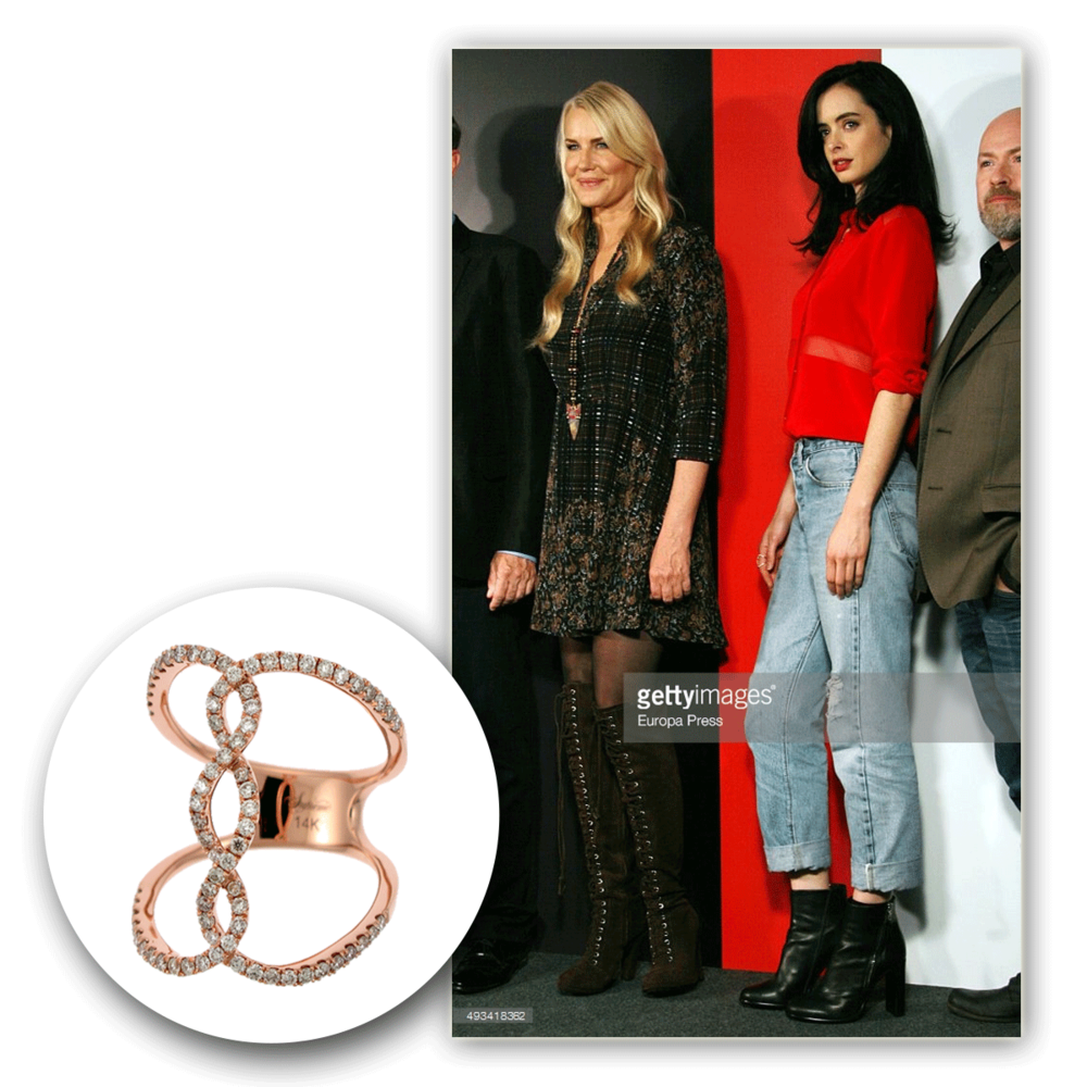 Lovely lady in red! We can't help but stare at the one, the only, Krysten Ritter, sparkling in this rose gold and diamond Supreme Jewelry fashion ring!
