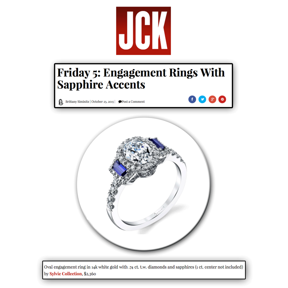Blue sapphire always add a regal feel to any engagement ring! Thank you JCK Online for featuring this Sylvie Collection oval-shaped engagement ring!