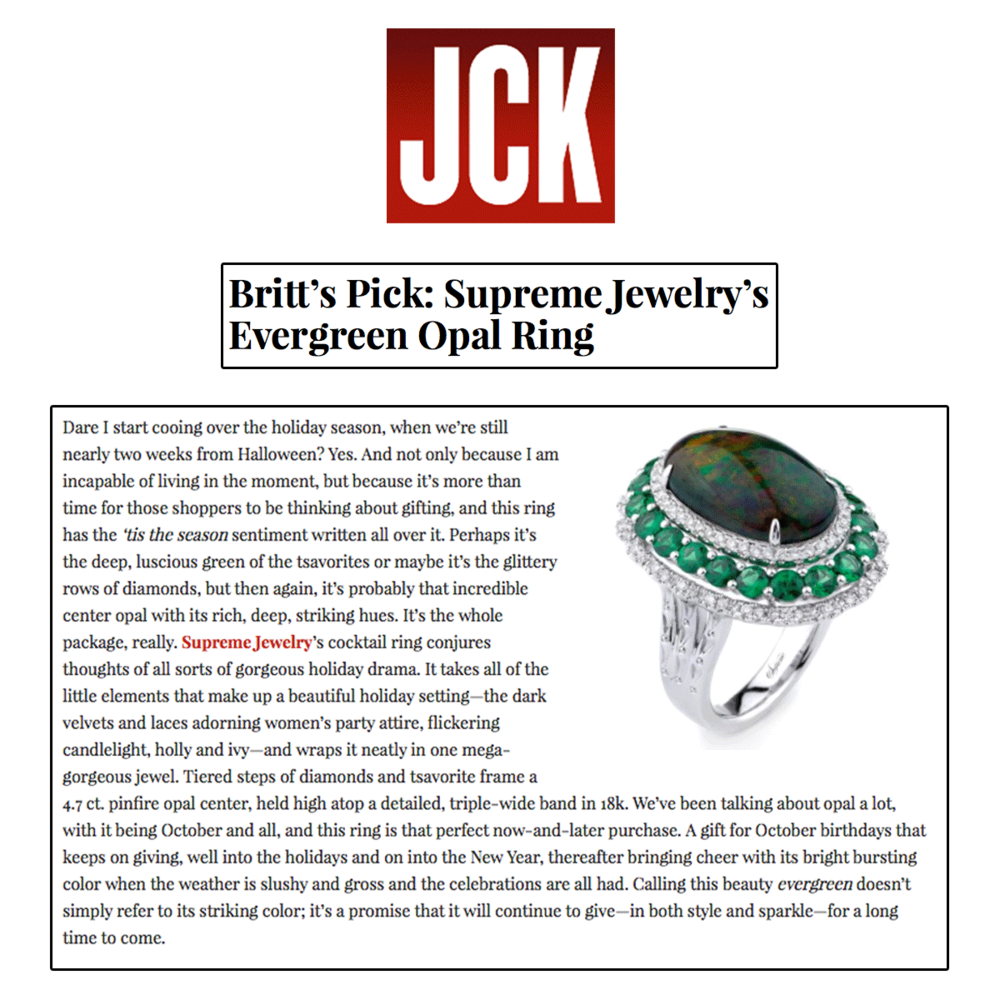 Evergreen and opal...it doesn't get any better than that. Thank you JCK Marketplace for featuring this stunning Supreme Jewelry statement ring.