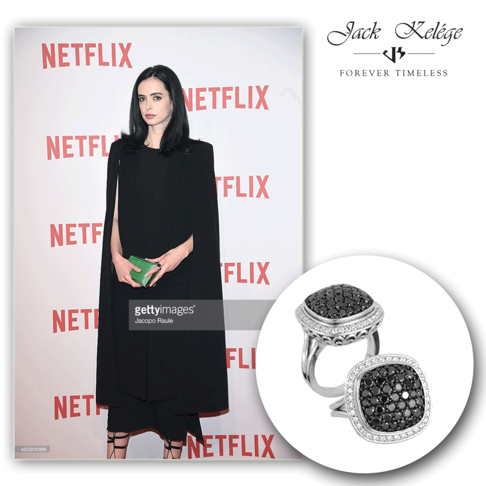 There she goes, there she goes again! Krysten Ritter, yet again, glowing in Jack Kelege jewels this time.